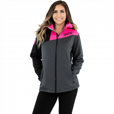 Fxr Dam Maverick Softshell Jacket - Char Heather/Elec Pink